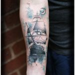 ship and moon tattoo by Matt Hunt