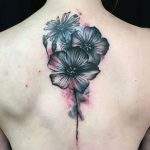 black flowers with watercolour background by Matt Hunt Modern body art