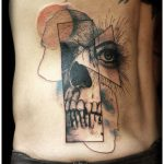 abstract skull and eye tattoo by Matt Hunt