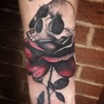 skull in a rose by Matt Modern Body Art