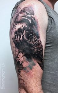 Eagle tattoo with watercolour and geometric background, by Matt Hunt