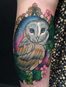Barn owl and night sky tattoo by Charlotte Timmons, Modern Body Art, Birmingham UK