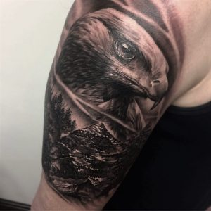 black and gray realism eagle tattoo by Greg Bishop at modern body art in birmingham