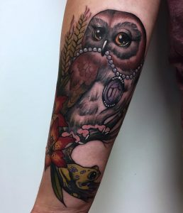 Traditional owl tattoo by frances anne faith, modern body art tattoo studio, birmingham UK