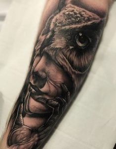Owl tattoo by Greg Bishop, Birmingham UK