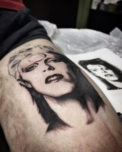 matt hunt, modern body art, birmingham tattoo studio, portrait tattoo, david bowie, bowie tattoo